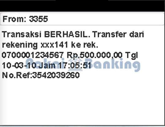 Format Transfer SMS Banking Mandiri