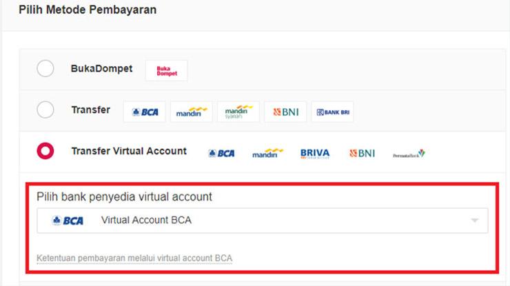 Masukan kode Virtual Account BCA