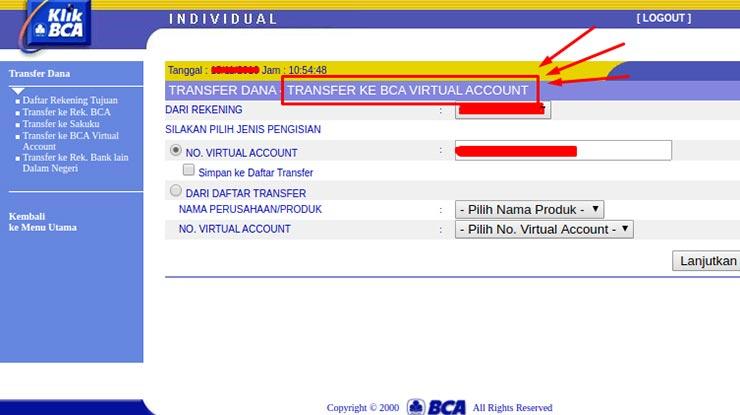 Pilih Transfer Dana BCA Virtual Account
