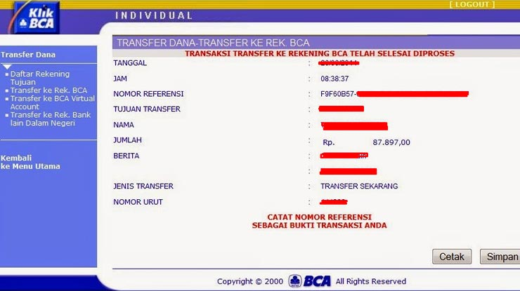 Pilih Transfer Dana