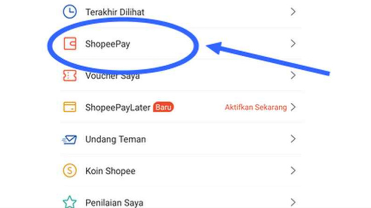 Pilih pada Menu Shopeepay