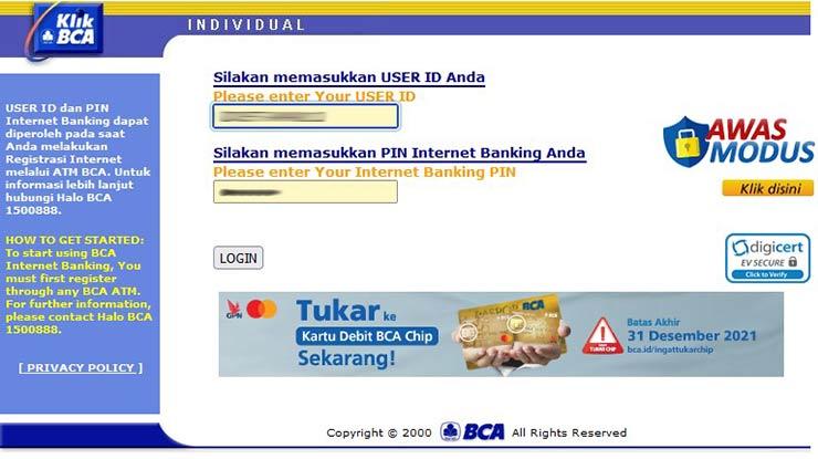 Kombinasi User ID KlikBCA