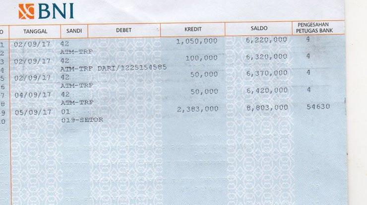 Contoh Kode Transaksi Bank BNI
